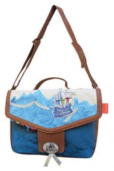 Disaster Designs Sea Breeze Satchel Bag with vintage nautical ship print at ScaryCanary Clothing Quirky Christmas Gifts, Powell Craft, Disaster Designs, Vintage Nautical, Cute Bags, Famous Brands, Baby Wearing, Women's Accessories, Diaper Bag