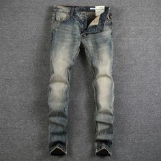 >> Click to Buy << Italian Style Fashion Mens Jeans High Quality Retro Design Classic Denim Jeans Men Slim Fit Casual Buttons Pants Stretch Jeans #Affiliate
