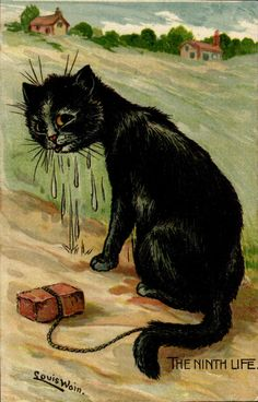 Louis Wain 'The Ninth Life'.  Postcard circa 1908.