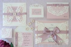 Pink Wedding Stationery Elegant laser cut wedding invitation. DIY wedding invitation with laser cut and lace. Dusky pink and cream