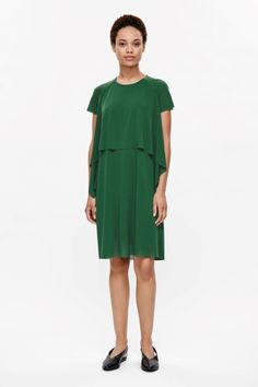 COS image 1 of Short sleeve layered dress in Green