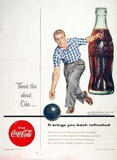 1954 Coca Cola original vintage advertisement. Features the pause that refreshes at work in the bowling alley.