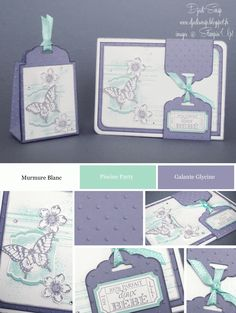"""Stampin'Up - Carte de Naissance et petite Boîte de Naissance """"Set Papillon Potpourri et Petite Petals"""""""