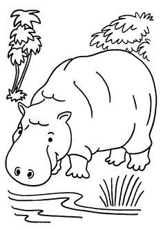 Coloriage pour enfant, un hippopotame buvant l'eau de la rivière