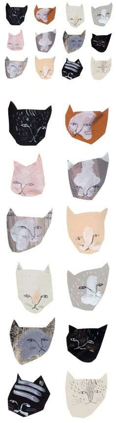 Illustration by Claire Softly. What inspires me about this illustration is the physicality of it and how it looks like it uses artistic materials. Illustrations don't have to be neat and tidy all the time. In fact, the grittyness and oddness of these cats makes them even more intriguing. and like OMG! get some yourself some pawtastic adorable cat apparel!