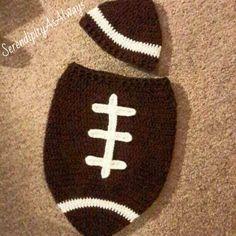 Crochet Pattern - Newborn Football Cocoon and Matching Hat Crochet Baby  Cocoon 9500b74b618