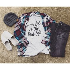 Mom Life Is the Best Life Shirt Pregnancy Announcement Shirt Mom Life... (£19) ❤ liked on Polyvore featuring tops, grey, tanks, women's clothing, gray top, crew top, gray shirt, shirt top and unisex tops