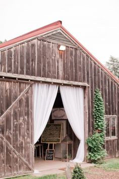 Barn Wedding Reception, Entrance drapes