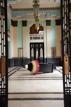 A 2012 sculpture by Alexandre Arrechea sits in the art deco lobby of the former headquarters of Bacardí Rum, built in the 1930s by architects Castells, Fernandez, and Menendez. (All photos by San Suzie.)