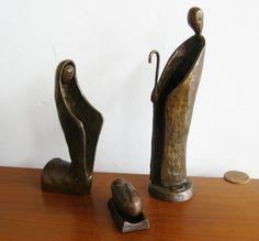 Vintage Mid Century Modernist Bronze Abstract Nativity Scene Set