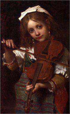 De_Coninck_Pierre_Louis_Joseph_The_Young_Violinist_Oil_On_Canvas