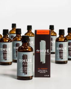 dp-Hue, bottle packaging. Brush stroke, musculine design