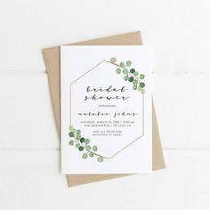 Simple Baby Shower Invitation, Greenery Bridal Shower, Modern Gender Neutral Printable Invite, Green Eucalyptus Wedding, Spring PLEASE NOTE: This item is a DIGITAL FILE. You are purchasing a digital file only. No physical item will be shipped. No printed materials are included.