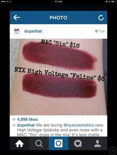 "NYX High Voltage ""Feline"" is a dupe for MAC Sin"