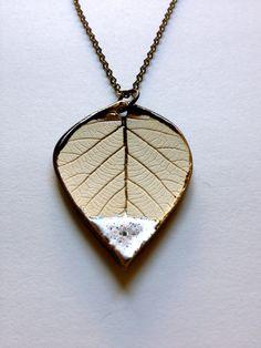 Medium Luster Gold Dipped Ceramic Leaf by AlainaSheenDesigns, $18.00