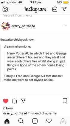 Fred George In Different Houses Find This Pin And More On Harry Potter Fanfiction
