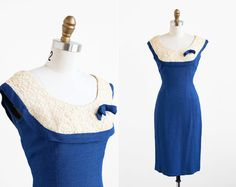 vintage 1960s dress / 60s dress / Blue and Lace Mad Men Wiggle