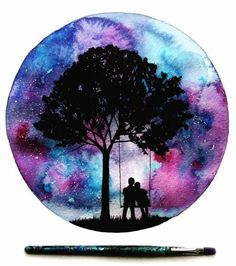 cute couple on swing under tree, galaxy sky painting in a circle – Today Pin – Galaxy Art Sky Painting, Galaxy Painting, Galaxy Art, Painting & Drawing, Couple Painting, Silhouette Painting, Tree Silhouette, Art Design, Beautiful Artwork