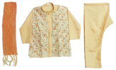 Light Cream Kurta, Pyjama, Jacket and Chunni with Sequin Embroidery (Art Silk)
