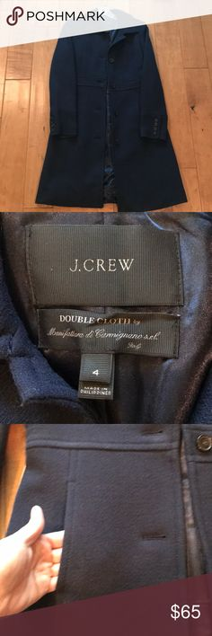 JCrew DoubleCloth Coat with Thinsulate Navy blue wool/nylon blend coat with Thinsulate lining for extra warmth. By JCrew. J. Crew Jackets & Coats