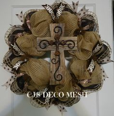 cross deco mesh wreath. Check out my page on facebook CJ'S DECO MESH.