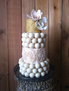 Pink and Gold Cake Ball Wedding Cake