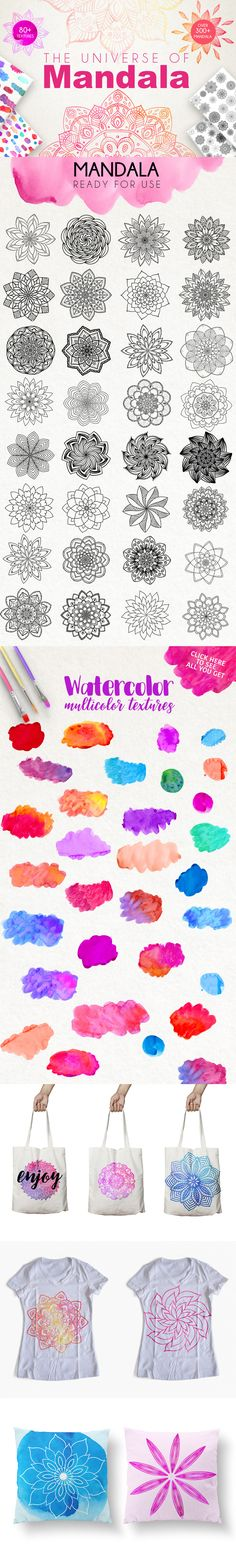 300+ vector mandalas, 80+ watercolor brush strokes, endless combinations, all part of The Modern Designer's Must-Have Collection.