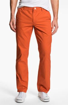 Straight Leg Washed Cotton Twill Chinos