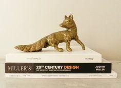 Vintage Brass Fox Statue Figurine Rustic Fox Hunt Fall Trends Harvest Decor