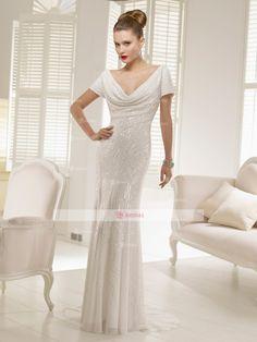 Sheath/Column Off-the-Shoulder Backless Floor length Chiffon Sequin Wedding Dresses