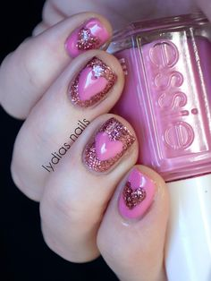 Hearts nail art in butter LONDON Rosie Lee (pink glitter) and China Glaze Something Sweet (pink creme)