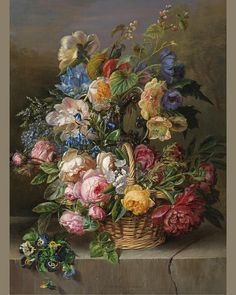 Image may contain: flower and plant Kalmia Latifolia, Yellow Peonies, Evening Sky, Flower Basket, Pansies, Painting Frames, Still Life, Oil On Canvas, Artsy