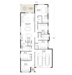 Explore over 60 single and double storey house plans. Each home design allows you to view facade options, minimum lot width, personalise your floorplan… One Level House Plans, Single Storey House Plans, Narrow House Plans, House Layout Plans, New House Plans, House Layouts, House Floor Plans, Passive Solar Homes, Villa Plan