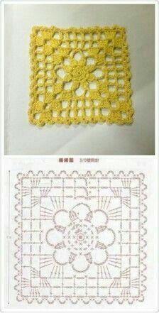 Crochet Granny Square Patterns and motifs: Crocheted motif no. Point Granny Au Crochet, Granny Square Crochet Pattern, Crochet Diagram, Crochet Squares, Crochet Chart, Filet Crochet, Granny Squares, Beau Crochet, Crochet Home