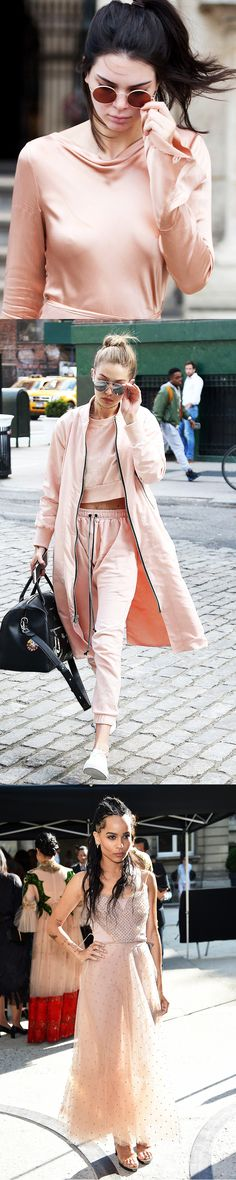 Kendall Jenner, Gigi Hadid and Zoë Kravitz are ravishing in rosé, the colour for the summer that we're digging right now