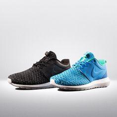 "#NikeRosheOne Flyknit ""Black"" und ""Photo Blue/Green"" Black→http://bit.ly/1eM44A2 Photo Blue/Green"