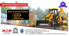 We offer courses on - Excavator, Mobile Crane, Forklift and Etc. For Enquiries Call: 9605885591 Heavy Equipment Training, Diploma Courses, Training School, Crane