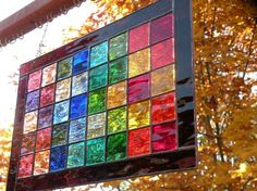 Rainbow  Stained glass window panel rectangular multi-colored spectrum