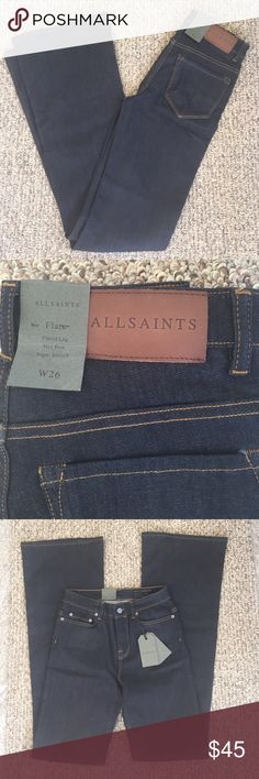 Final price NWT all saints jeans Brand new w tag. Flare, mid rise, super stretch All Saints Jeans Flare & Wide Leg