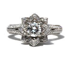 Due righe unico fiore rosa Diamond Engagement di BeautifulPetra