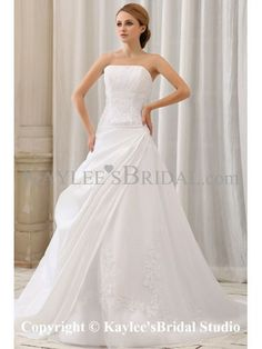 Taffeta Strapless Court Train A-Line Wedding Dress with Ruffle Embroidered