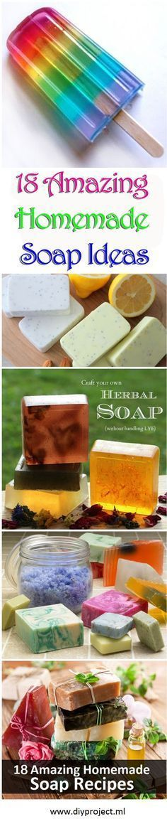 Here are 18 amazing DIY recipes for homemade soap. Homemade Soap Recipes, Homemade Gifts, Diy Gifts, Diy Hacks, Savon Soap, Diy Spa, How To Make Diy, Homemade Beauty Products, Home Made Soap