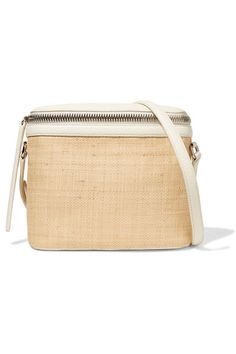 750382b271c6 Beige straw, white textured-leather (Cow) Zip fastening along front Weighs  approximately