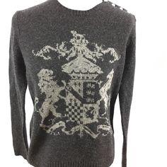 Lauren by Ralph Lauren Gray Sweater Crest Insigna Women\u0027s Size Large  Lambswool   eBay