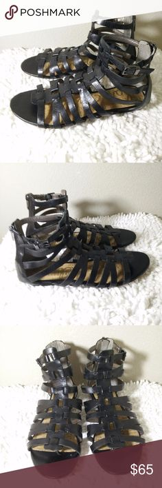 Sam Edelman Black Leather Gladiator Sandals Sz 9 M Sam Edelman Gladiator Sandals Size 9M -  Very Stylish looking sandals - comfortable and  in excellent condition... (ref#2144) Sam Edelman Shoes Sandals