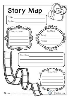 This is a very useful tool for your students to help them identify the important parts of a story. Includes 2 graphic organizer story maps: identify the Problem and Solution of the story. To identify the Beginning, Middle, and End of the story. Book Review Template, Book Report Templates, Story Map Template, Writing Template, English Writing Skills, Writing Lessons, Writing Activities, Reading Strategies, Reading Comprehension