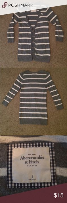"""Abercrombie and Fitch cardigan Striped white and gray cardigan.  Very small stain on right shoulder.  Length of cardigan is 27.5"""".  Sleeves from shoulder down are 20"""". Bust is 16"""", though the material stretches.  I'm open to offers and you can also enjoy 20% off bundles of 3 or more! Abercrombie & Fitch Sweaters Cardigans"""