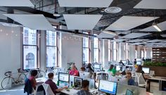 Wow, what a lovely space by Living Social designed by OTJ Architects. Watch a video about their design. Office Ceiling Design, Office Interior Design, Office Interiors, Office Designs, Open Office, Cool Office, Office Ideas, Office Decor, Open Ceiling
