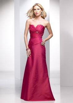 A-line Strapless Fan Pleated Neckline Asymmetric Pleated Bodice Taffeta Bridesmaid Dress-wbm0027, $198.95