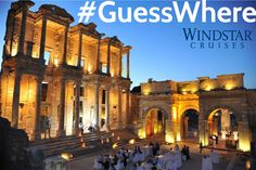 Hitch is visiting a different kind of library this week #GuessWhere he is and where you could book a special dinner under the stars. Hitch is enjoying Dinner under the stars in the magnificent Celsus Library of Ephesus located in Turkey.